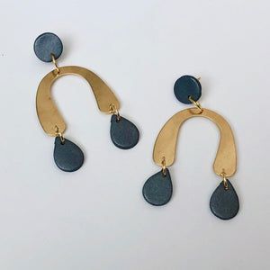 The Twiggy Clay and Brass Arch Earrings