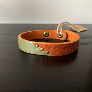 Two Tone Leather Bracelet