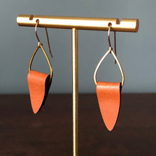 Load image into Gallery viewer, Leather + Gold Teardrop Earrings