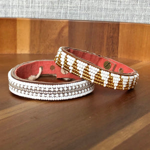 Small Beaded Leather Cuffs