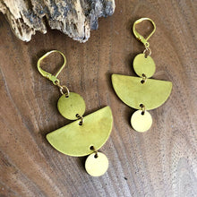 Load image into Gallery viewer, Brass Half Moon & Disc Earrings