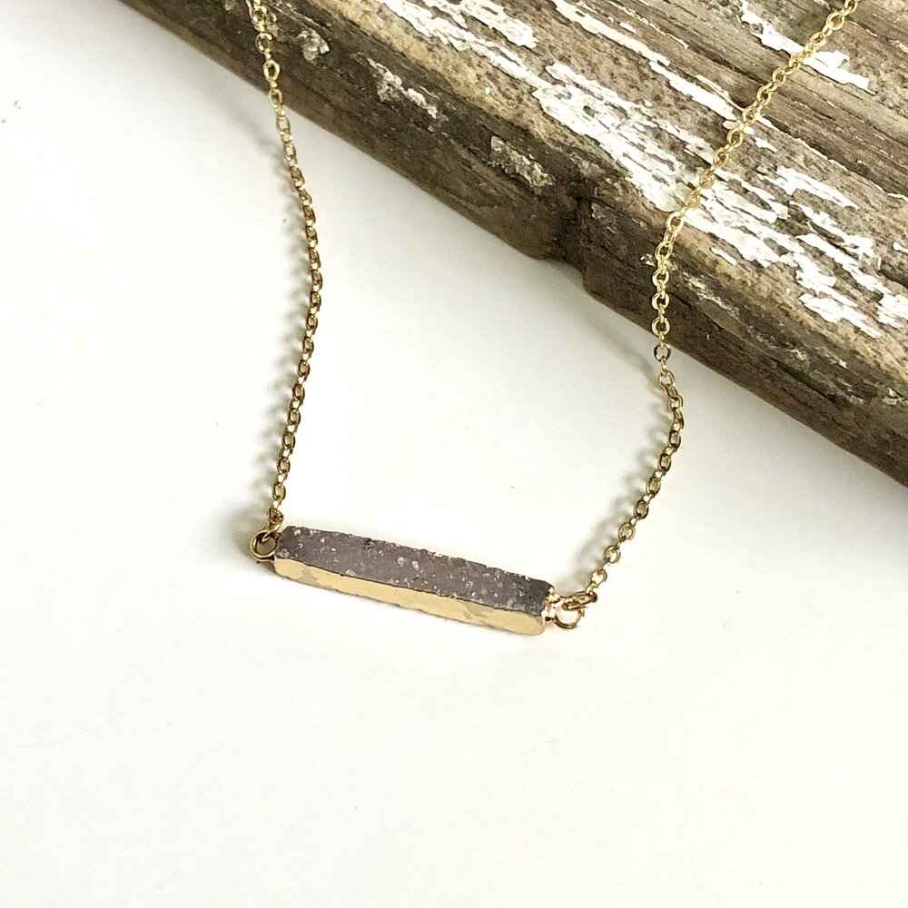 Natural Druzy Bar Necklace