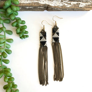Long Beaded Earrings with Chain Fringe