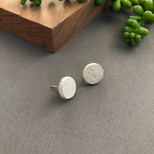 Concrete Circle Stud Earrings-Round