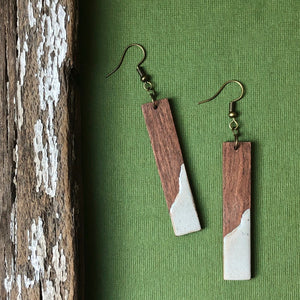 Lightweight Unique Wood and Concrete Bar Earrings - Rosewood