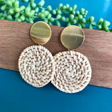 Load image into Gallery viewer, Wicker Disc Drop Earrings