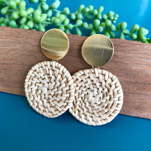 Wicker Disc Drop Earrings