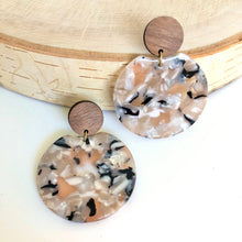 Load image into Gallery viewer, Wood Post + Blush Calico Acrylic Circle