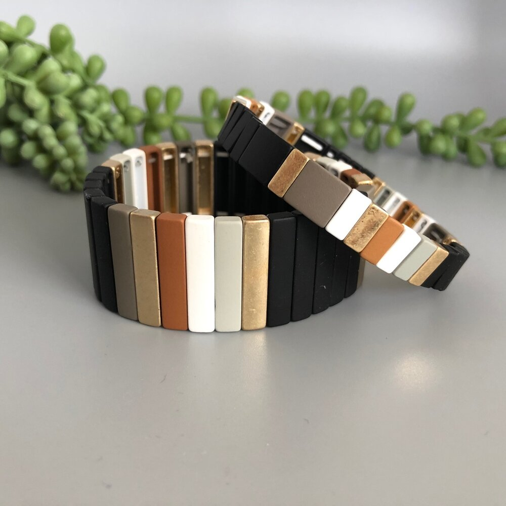Wide Metal Tile Bracelets