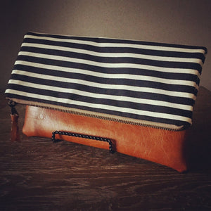 Fold Over Clutch - Black + White Stripe