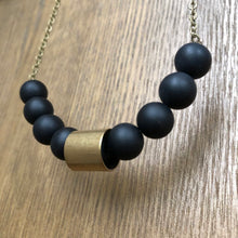 Load image into Gallery viewer, Matte Black Agate Bead Necklace