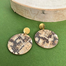 Load image into Gallery viewer, Tan Snakeskin Cork Leather Earrings