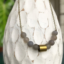Load image into Gallery viewer, Grey Agate Bead Necklace