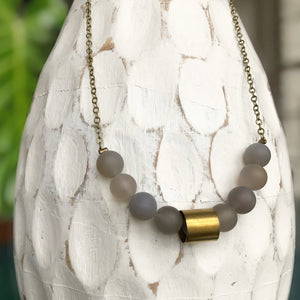 Grey Agate Bead Necklace