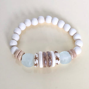 Wood and Glass Bead Bracelets