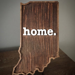 "Wooden Indiana ""home"" Plaque"