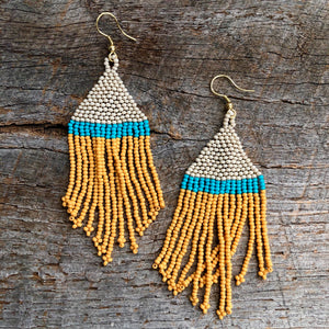 Yellow Turquoise Ivory Stripe Seed Bead Earring