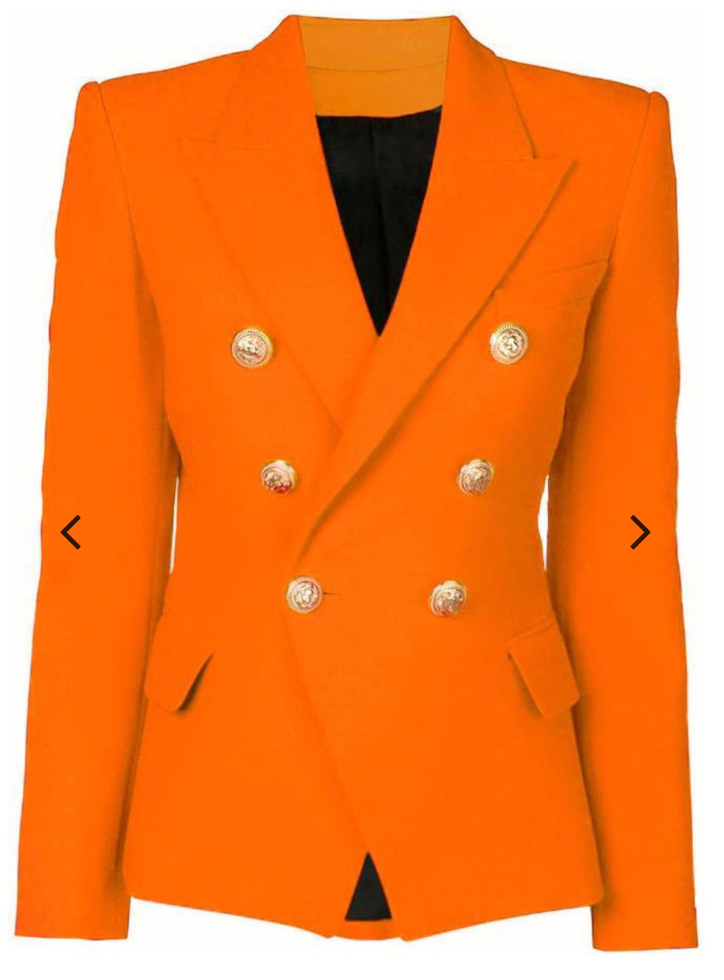 Neon Orange Double Breasted Blazer