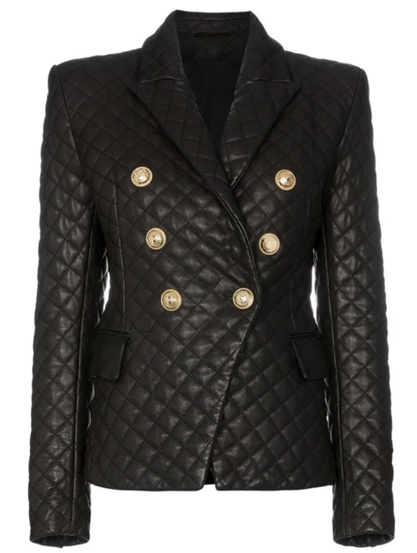 Black Quilted Leather Double Breasted Blazer