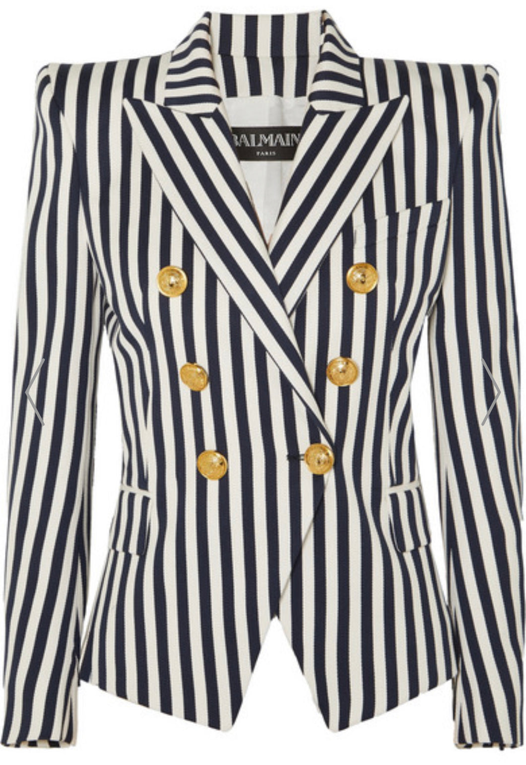 Black and White Stripe Double Breasted Blazer