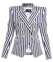 Load image into Gallery viewer, Navy and White Stripe Double Breasted Blazer