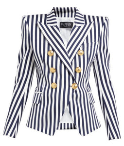 Navy and White Stripe Double Breasted Blazer
