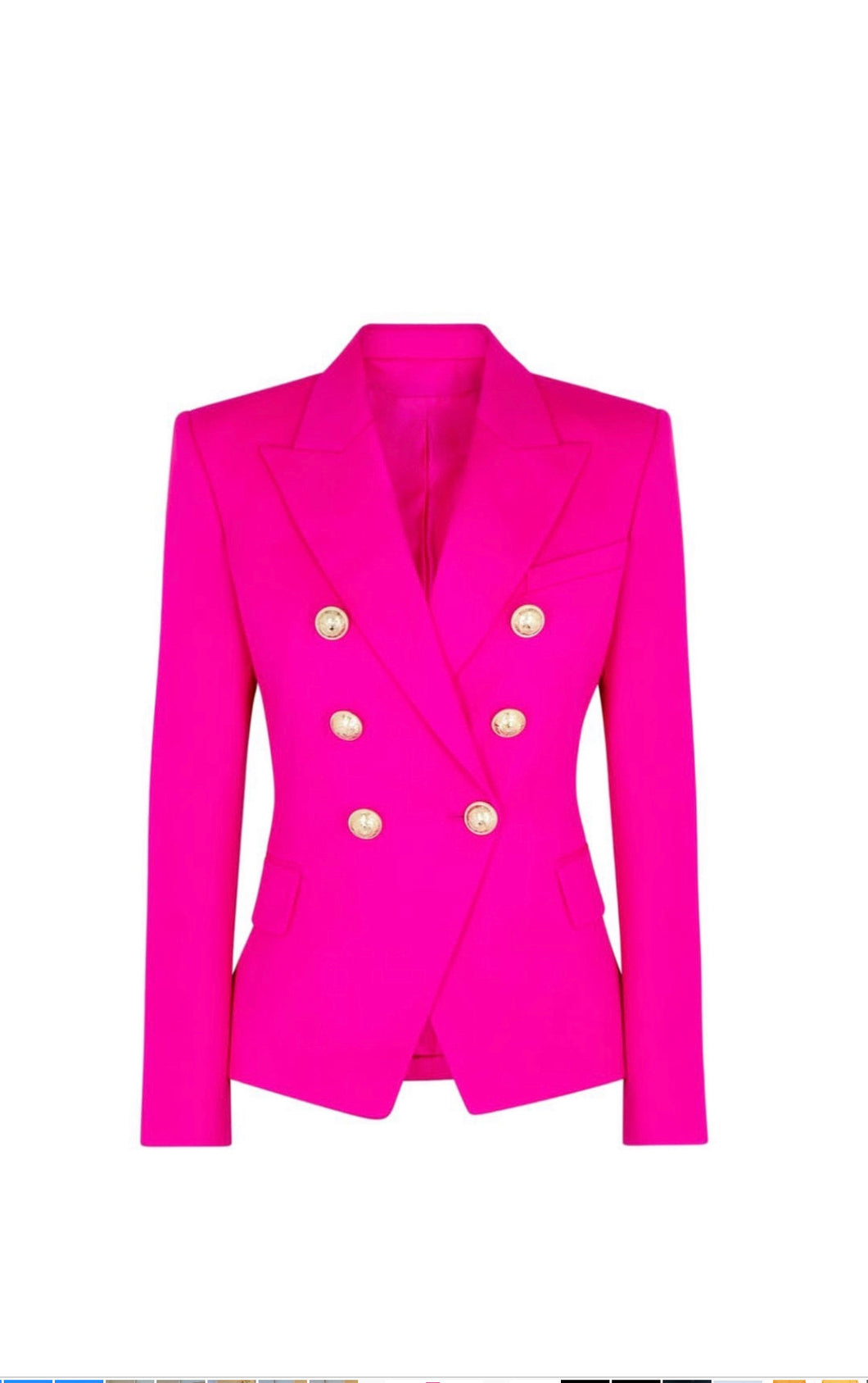 Neon Pink Double Breasted Blazer