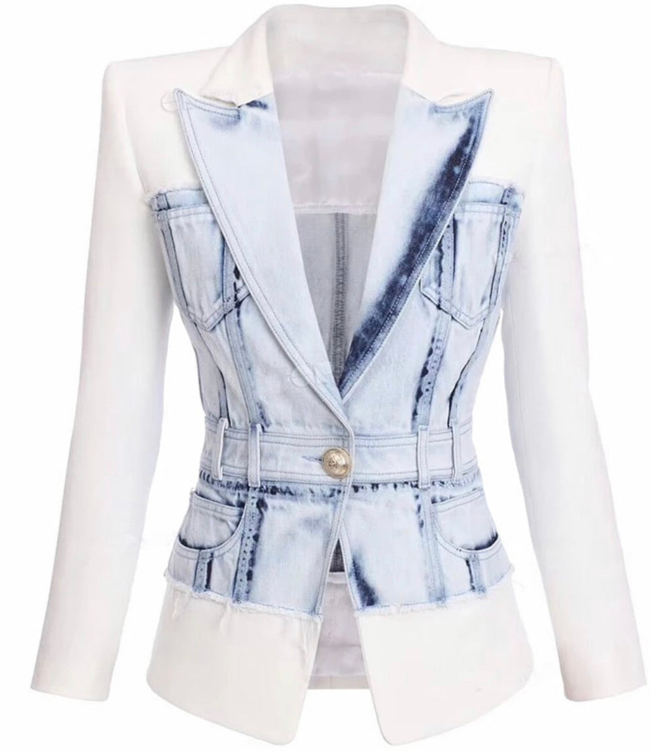 White Denim Blazer
