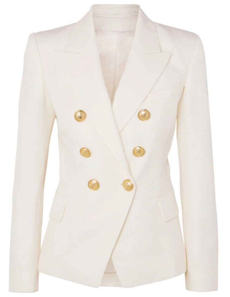 White Leather Double Breasted Blazer