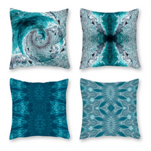 Load image into Gallery viewer, Canvas Pillowcase Throw Pillow Covers, Set of 4, Turquoise Waters