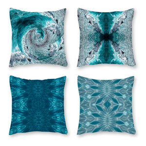 Canvas Pillowcase Throw Pillow Covers, Set of 4, Turquoise Waters