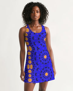 Racerback Dress in Orange & Blue Sunburst