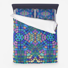Load image into Gallery viewer, Microfiber Duvet Cover & 2 Pillowcases- Mosaic with Blue, Turquoise and Orchid