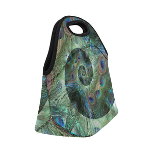 Neoprene Lunch Tote - Peacock Spiral