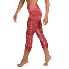 "Load image into Gallery viewer, Women's High Waisted Pattern Leggings Capri Length Yoga Pants (Mid-Calf)- in ""Pomegranate"""