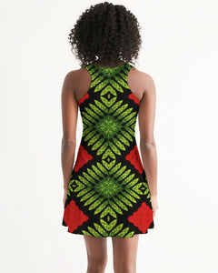 Racerback Dress in Red, Green & Black Graphic Print