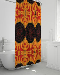 "Shower Curtain 72""x72"" in Orange Red & Black Mandala"
