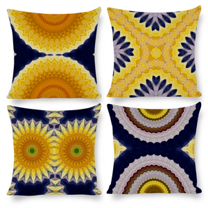 Pillow Covers - Set of 4 Printed Cotton & Linen in Yellow & Blue Mandala Daisies