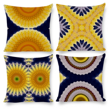 Load image into Gallery viewer, Pillow Covers - Set of 4 Printed Cotton & Linen in Yellow & Blue Mandala Daisies