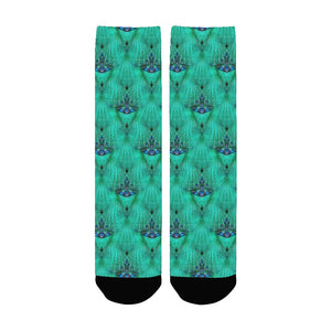 "Women's Fashion Socks ""Teal Chandelier"" Mid Length with Black Toe and Heel"