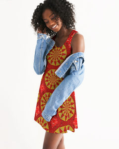 Racerback Dress in Red & Yellow Mandala Sundials