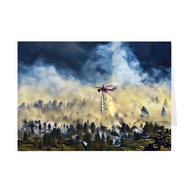 Helicopter Water Drop Over Forest- Greeting Cards