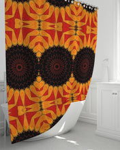 "Load image into Gallery viewer, Shower Curtain 72""x72"" in Orange Red & Black Mandala"