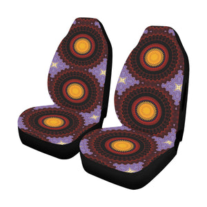 Car Seat Cover Red Yellow Purple Mandala Side Airbag Compatible Car Seat Cover Airbag Compatible(Set of 2)