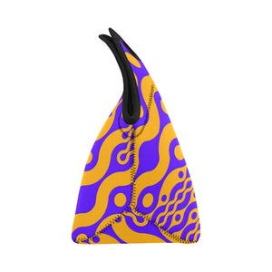 Neoprene Lunch Tote- Wiggle in Orange and Purple