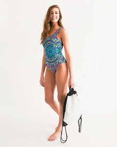 *Women's 1-Piece Swimsuit - Fuschia & Turquoise Kaleidoscope Women's One-Piece Swimsuit