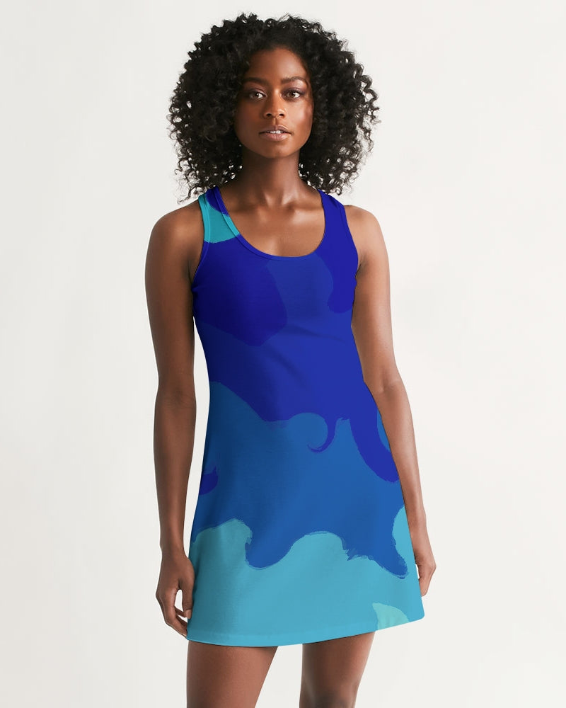 Racerback Dress in Painted Blue Waves