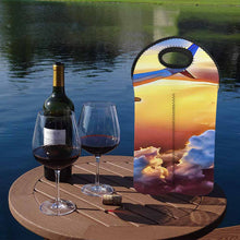Load image into Gallery viewer, Jet plane wing sunset   2-Bottle Neoprene Wine Bag