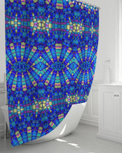 "Load image into Gallery viewer, Shower Curtain Royal Blue Mosaic- 72""x72"""