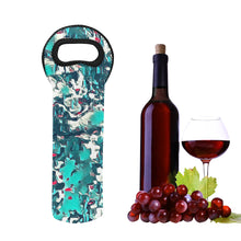 Load image into Gallery viewer, 1- Bottle Neoprene Wine Tote- Teal Abstract